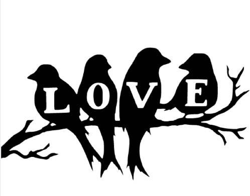 love birds on a tree branch vinyl decal sticker wall art. Black Bedroom Furniture Sets. Home Design Ideas