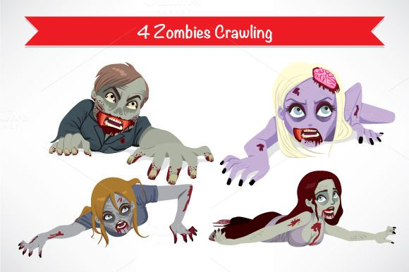 4 Halloween Zombies Crawling Zombie Crawl Zombie Halloween Monster Drawing