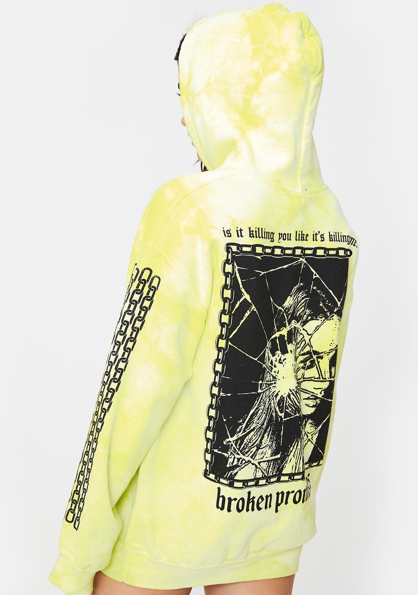 Broken promises co neon yellow shattered tie dye hoodie