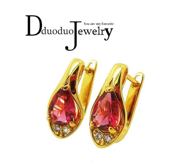 Šarm náušnice pro ženy pozlacené náušnice pro ženy, barva červená Cubic Zirconia šperky Doprava zdarma
