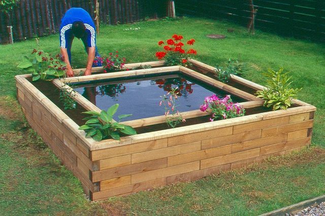 boxed pond - i like the raised flower bed bordering the ...