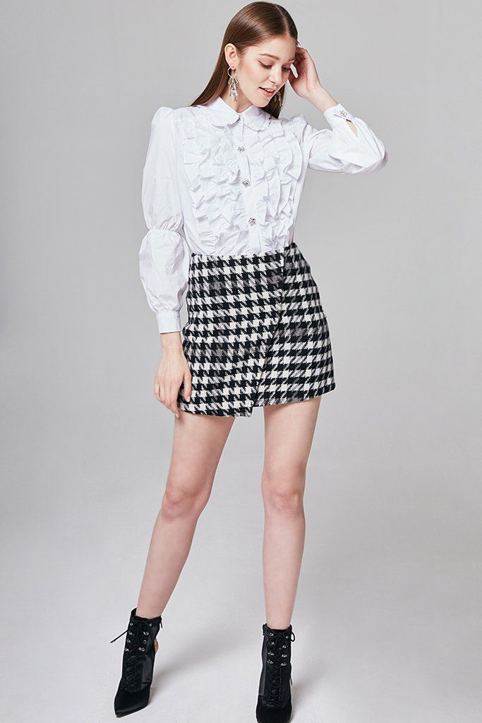 f15705c00 Details Wrap skirt with monochrome houndstooth detail overall. - Mid-rise  waist - All