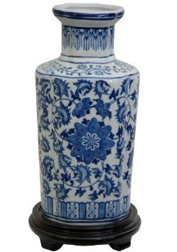 58 Amazon.com: Oriental Furniture Original Style Asian Decor 12-Inch Fine Blue and White Chinese Export Porcelain Style Flower Vase, Floral Design: Home & Kitchen