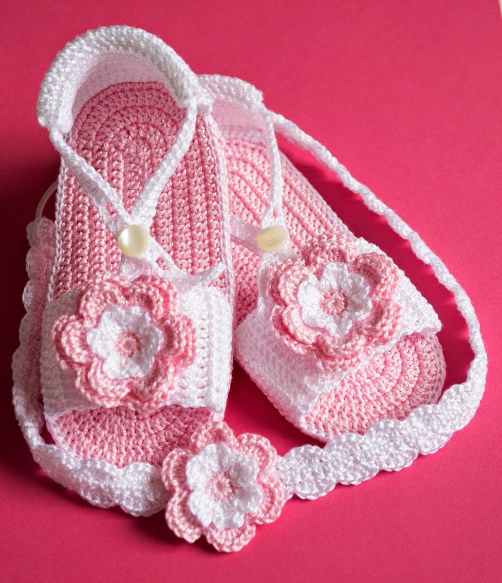 Sandalias rosas con diademas de ganchillo para beb kids - Diademas de ganchillo ...