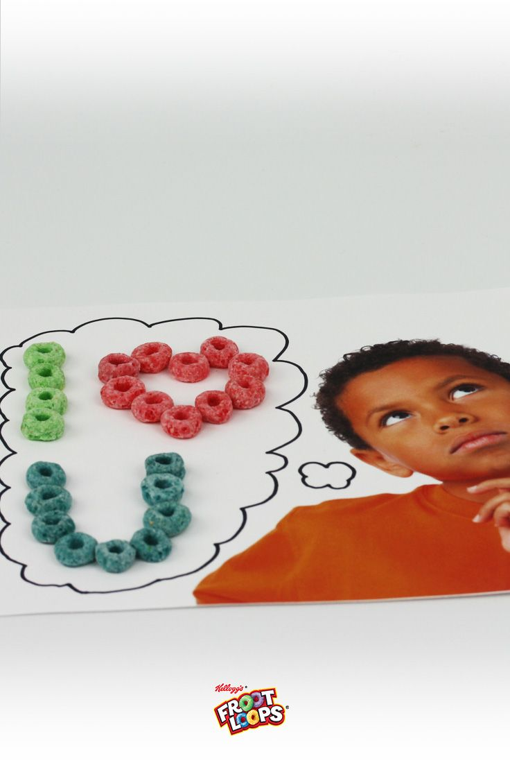 Froot Loops Thought Bubbles – Imprime una foto de tu hijo y pídeles que le agreguen un pensamiento o una frase adentro de un globo y con la ayuda de Froot Loops.