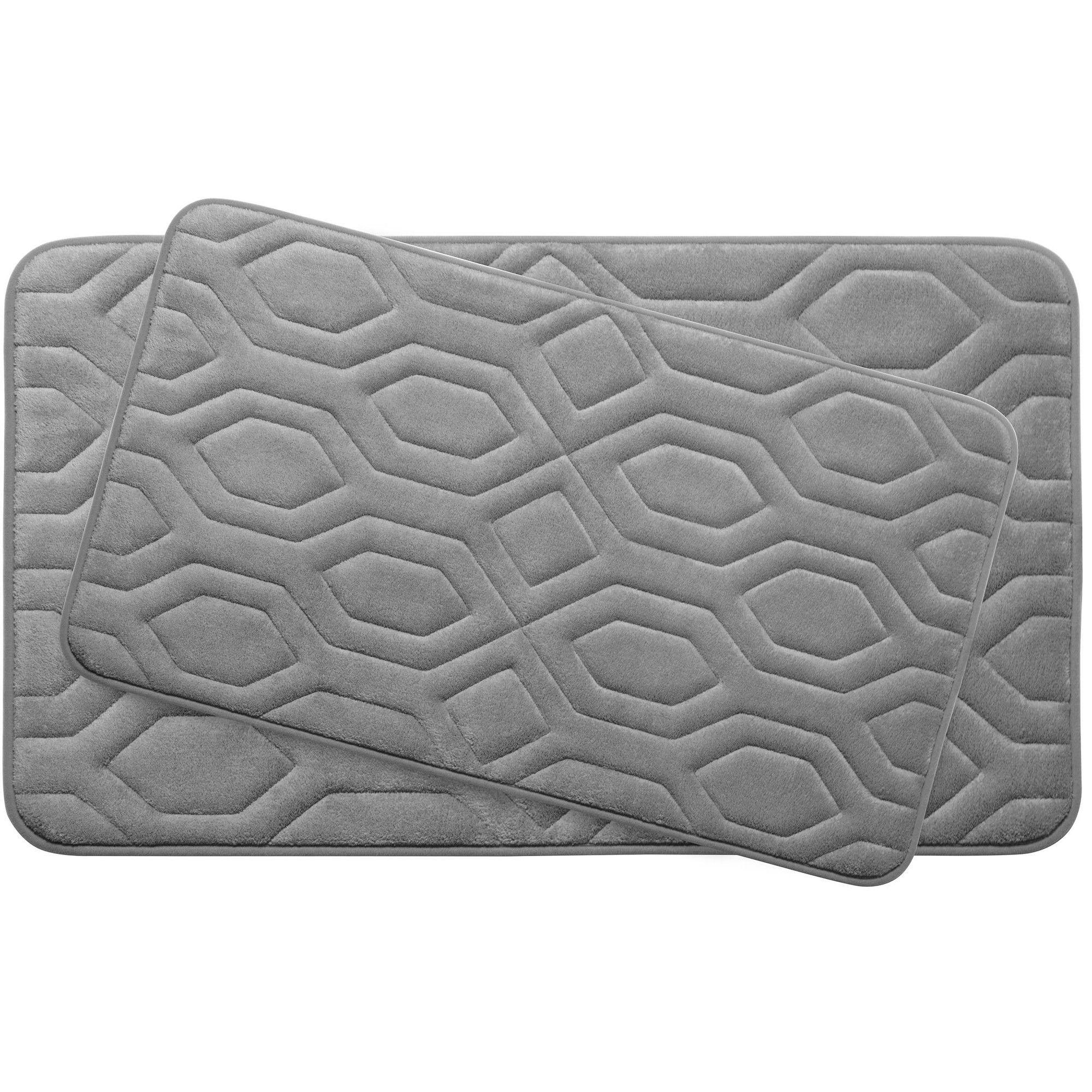 Turtle Shell Large 2 Piece Premium Micro Plush Memory Foam Bath Mat Set