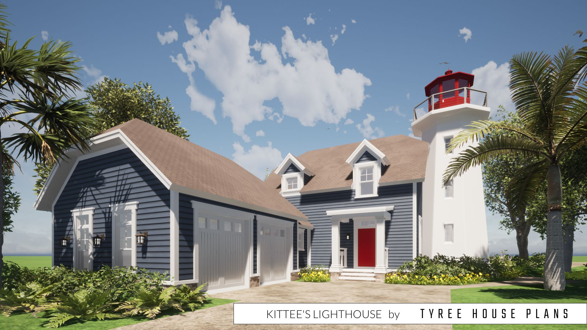 3 Bedroom House With Attached Lighthouse Tyree House Plans In 2020 House Plans Beach House Plans House