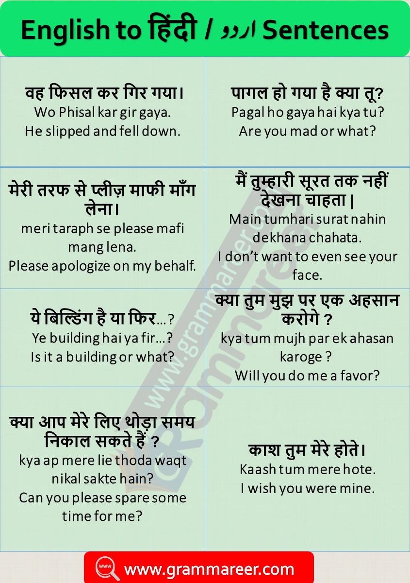 English Sentences With Hindi Translation Daily Used 500 English Phrases English Learning Spoken English Sentences English Phrases