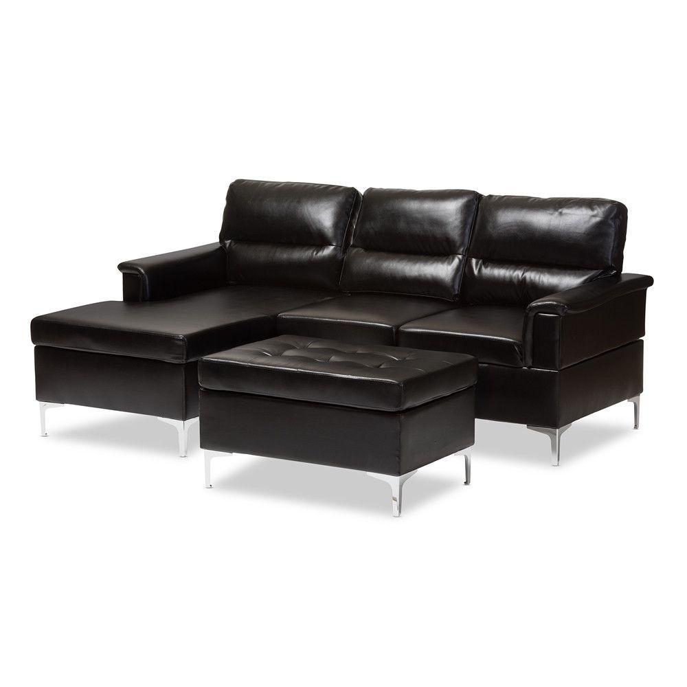 KINSLEY MODERN BLACK FAUX LEATHER 3 PIECE SECTIONAL SOFA AND OTTOMAN