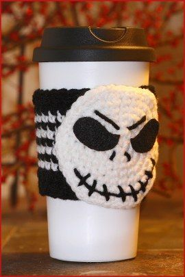 Crochet Tutorial Jack Skellington Cup Cozy Crochet Cup Cozy Crochet Mug Cozy Cup Cozy Pattern