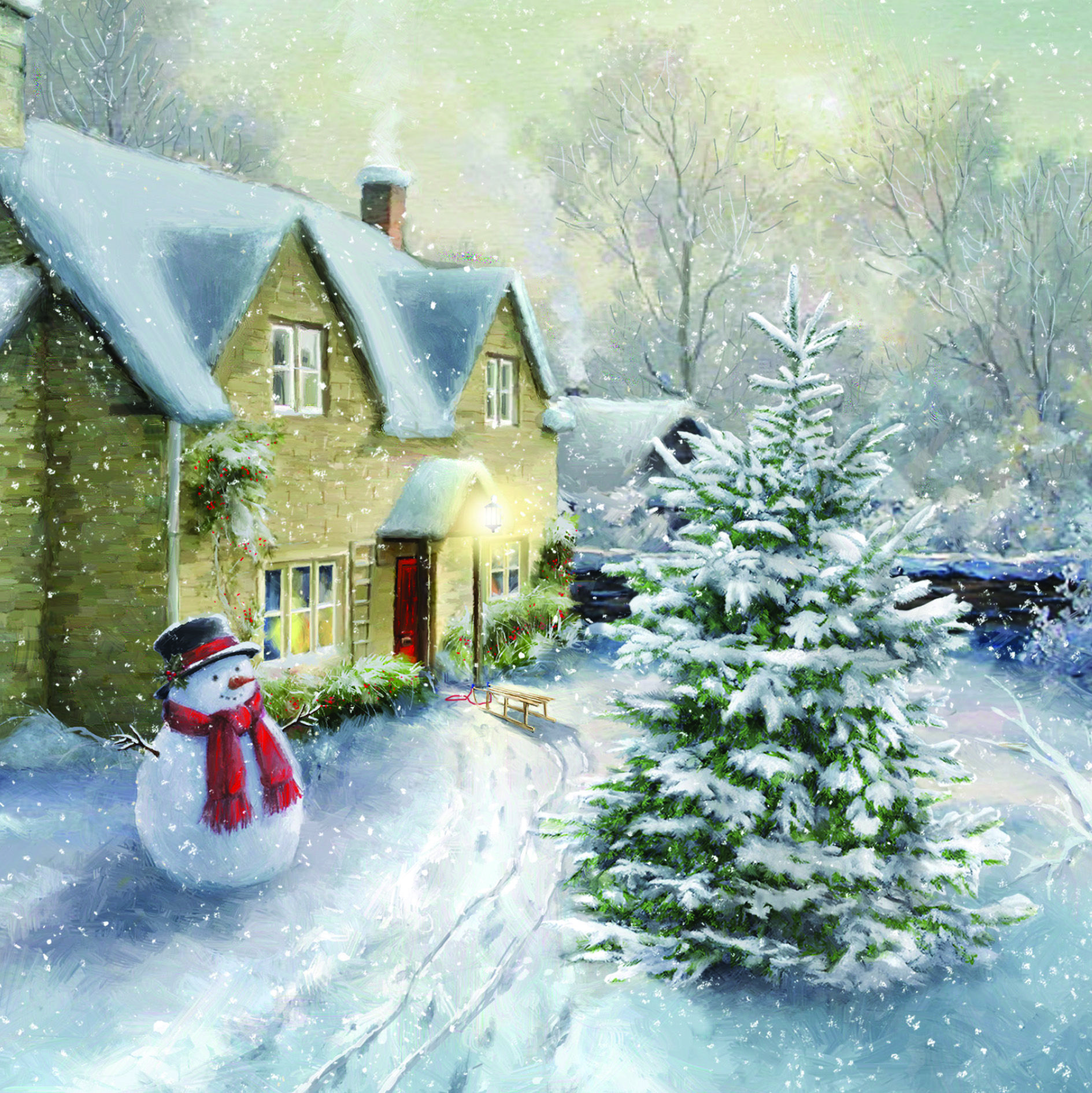 Snowman Cottage Charity Christmas Card (With images