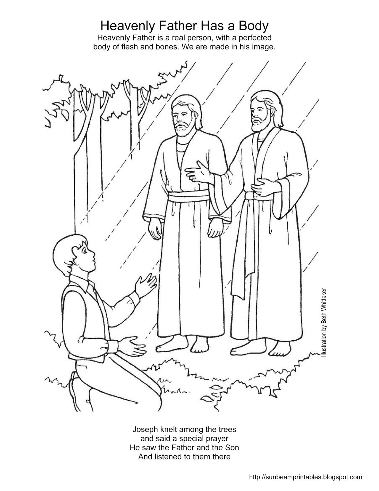 sunbeam printables coloring page for lesson 2 heavenly father