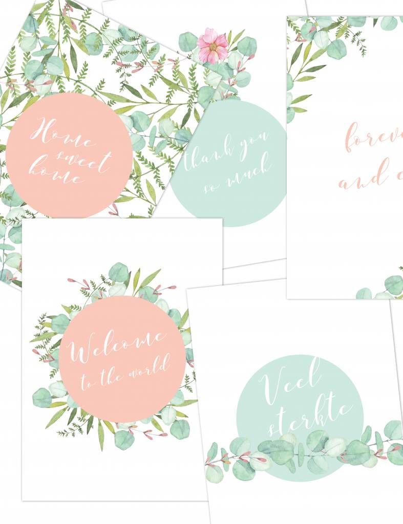 Wenskaartjesset - Botanical kaartjes - Koop hier leuke en originele wenskaarten ontworpen door Yellow Sky. #mint #botanical #geboorte #newhome #veelsterkte #forever #thankyou