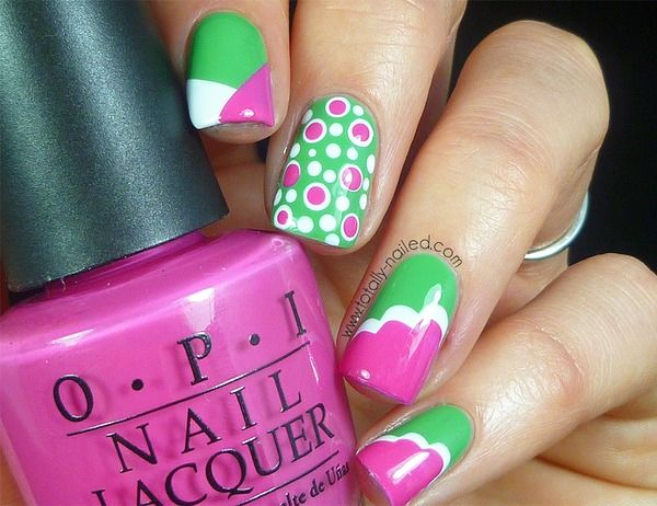 Pink and Green Nail Art - Pink And Green Nail Art Nails Nail Art, Green Nail Art, Nails