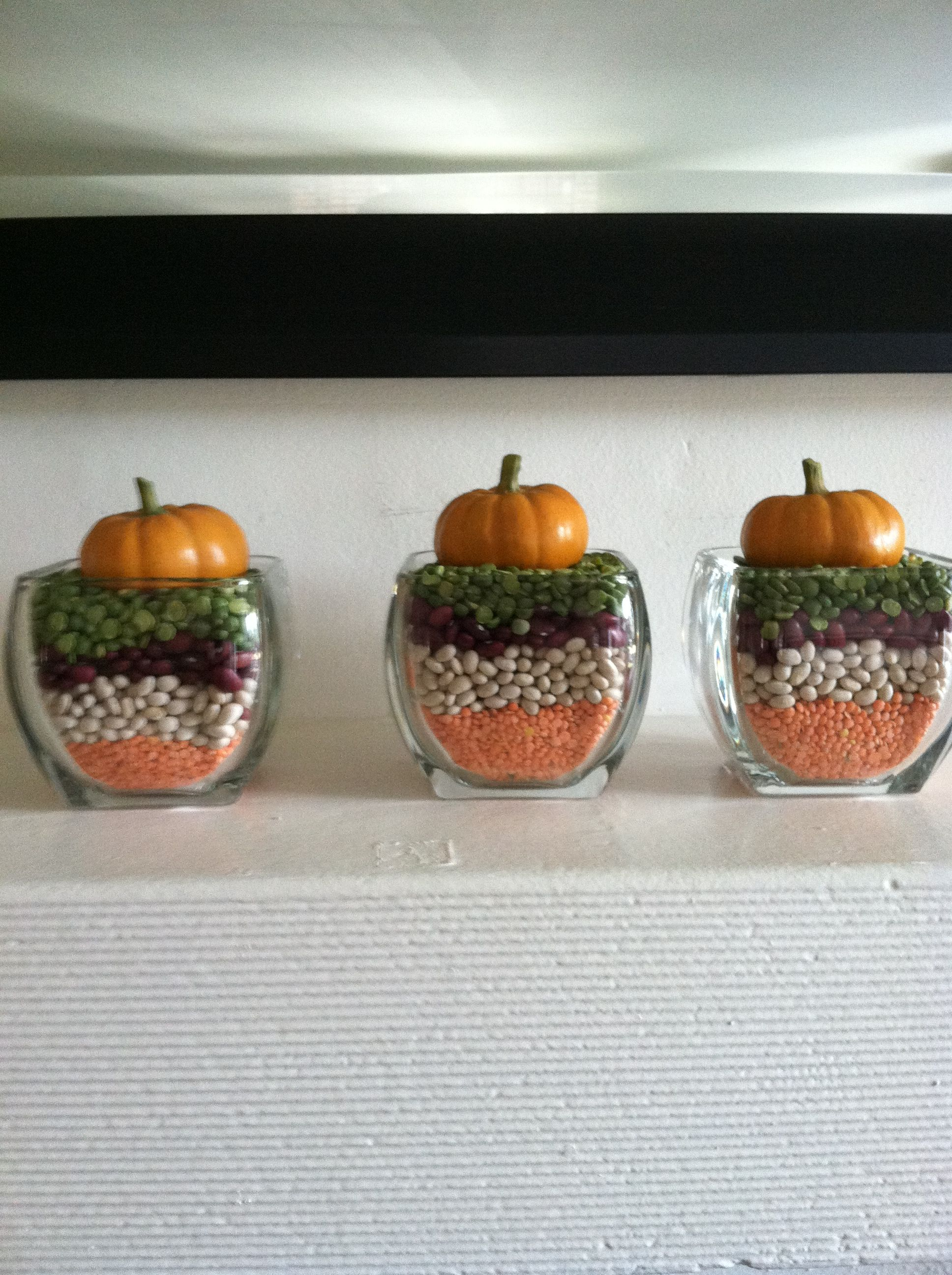 Simple harvest decor - dried beans from the bulk store Faux - Hobby Lobby Halloween Decorations