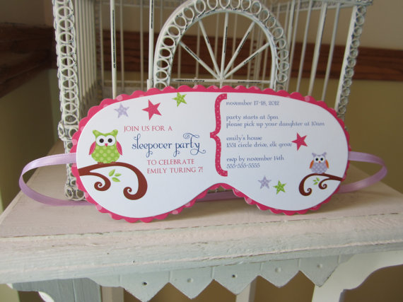 Sleeping Mask Invitation Custom Die Cut Perfect For Sleepover