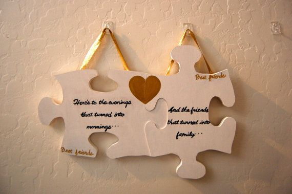 Perfect Wedding Gift For Best Friend: Custom Wood Hanging Puzzle Piece Best Friend Sign. Great