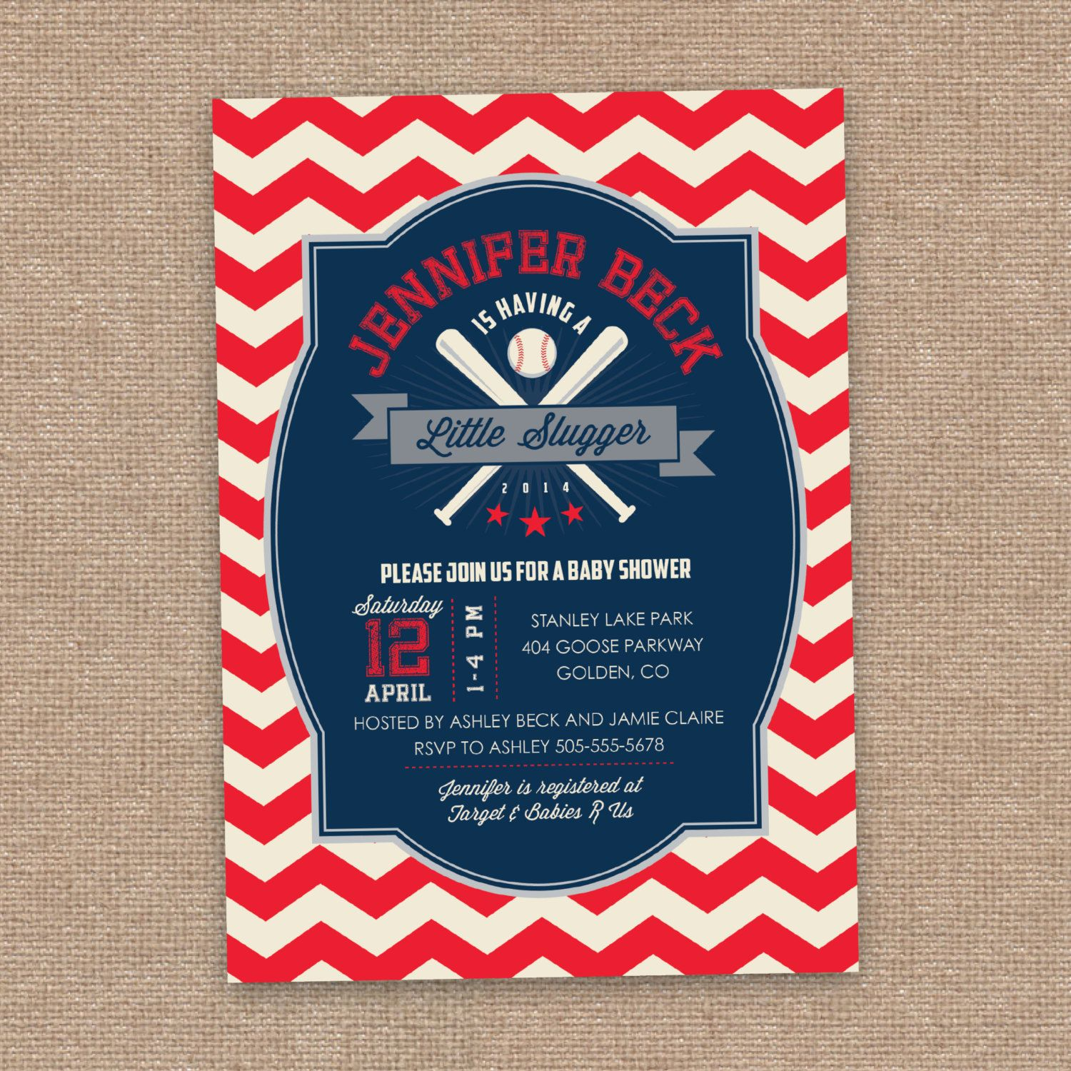 Baseball Baby Shower Invitation, Little Slugger, Vintage Sports, All-Star, Chevron, Fourth of July, Blue and Red, DIY Printable by jessicasinvites on Etsy
