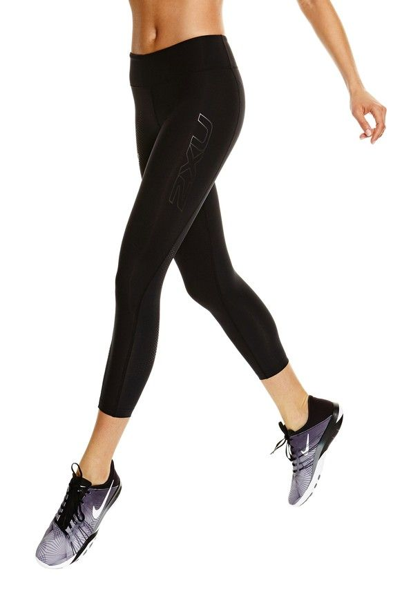 Mid Rise Compression 7/8Tights - Black / Dotted Black Logo