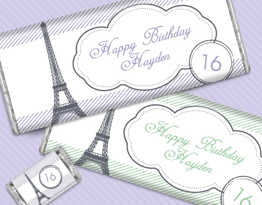 Paris Themed Sweet 16 Birthday Party Favors: Personalized Candy Bars ...