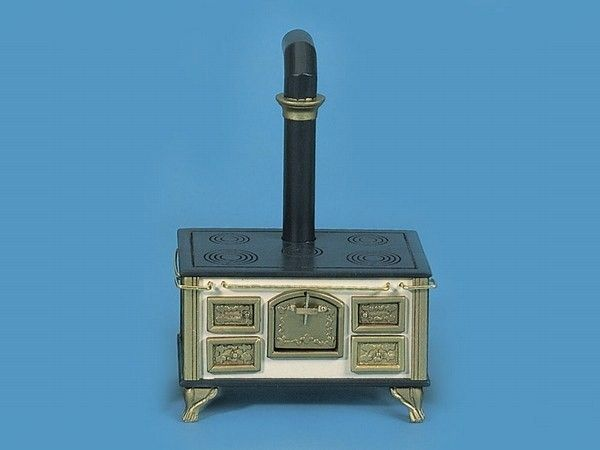 """Victorian Stove.  Measures 6 1/8"""" tall (to top of wall pipe) x 4 5/16"""" Wide x 2 9/16"""" Deep- Manor House Miniatures"""