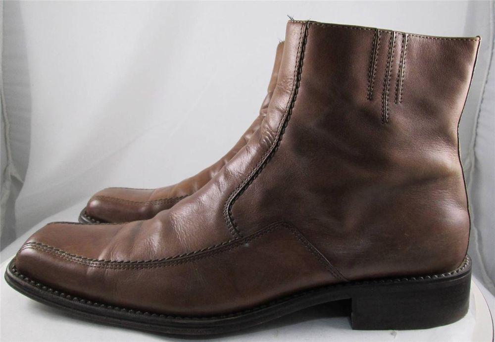 b5b7ef8c30 Mens Aldo Ankle Zip Dress Boots Brown Leather US Size 10-10.5 EU 43  ALDO   AnkleBoots