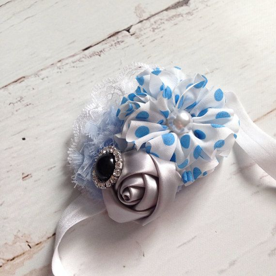 Blue, white and silver band inspired by disneys Cinderella, the perfect accessory for dress up, birthdays, photos, Disney trips or everyday