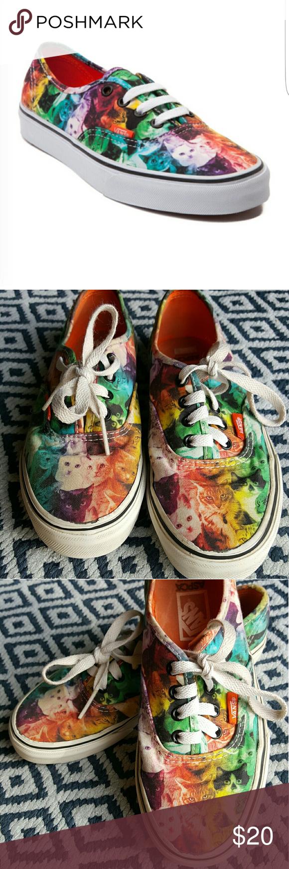 Vans Aspca Rainbow Kitten Cat Design Kids Sz 3 5 Rainbow Kittens Cat Design Vans