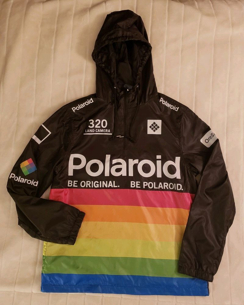 97eccec0d84c Polaroid 'Be Original' Rainbow Colors Camera Windbreaker Jacket Hooded Size  M #Poloroid #Windbreaker