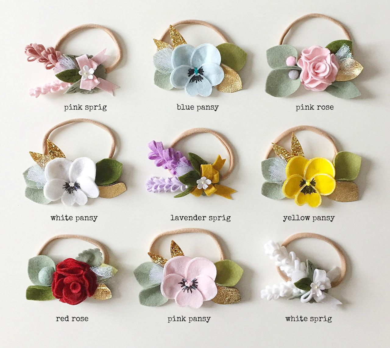 Felt Flower Headbands #marthastewartweddings #laurenconrad www.giddyupandgrow.etsy.com #feltflowerheadbands