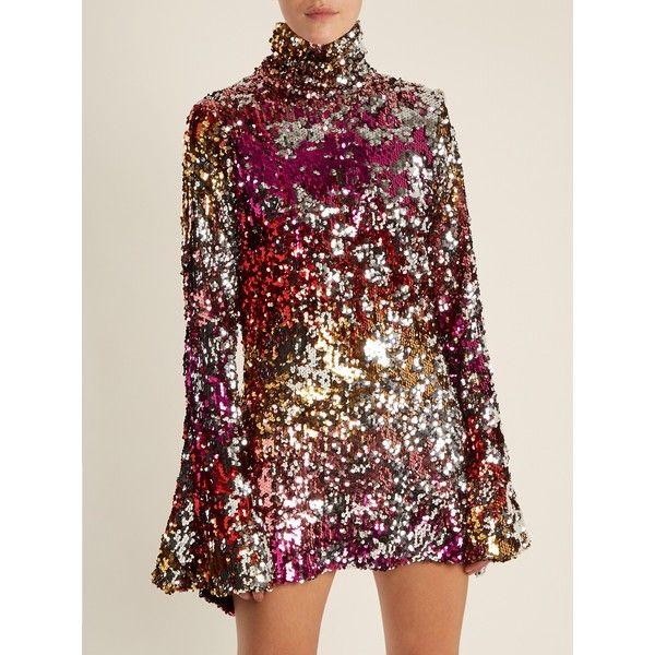 Longsleeved high neck sequinned mini dress - Black Halpern z1y3K