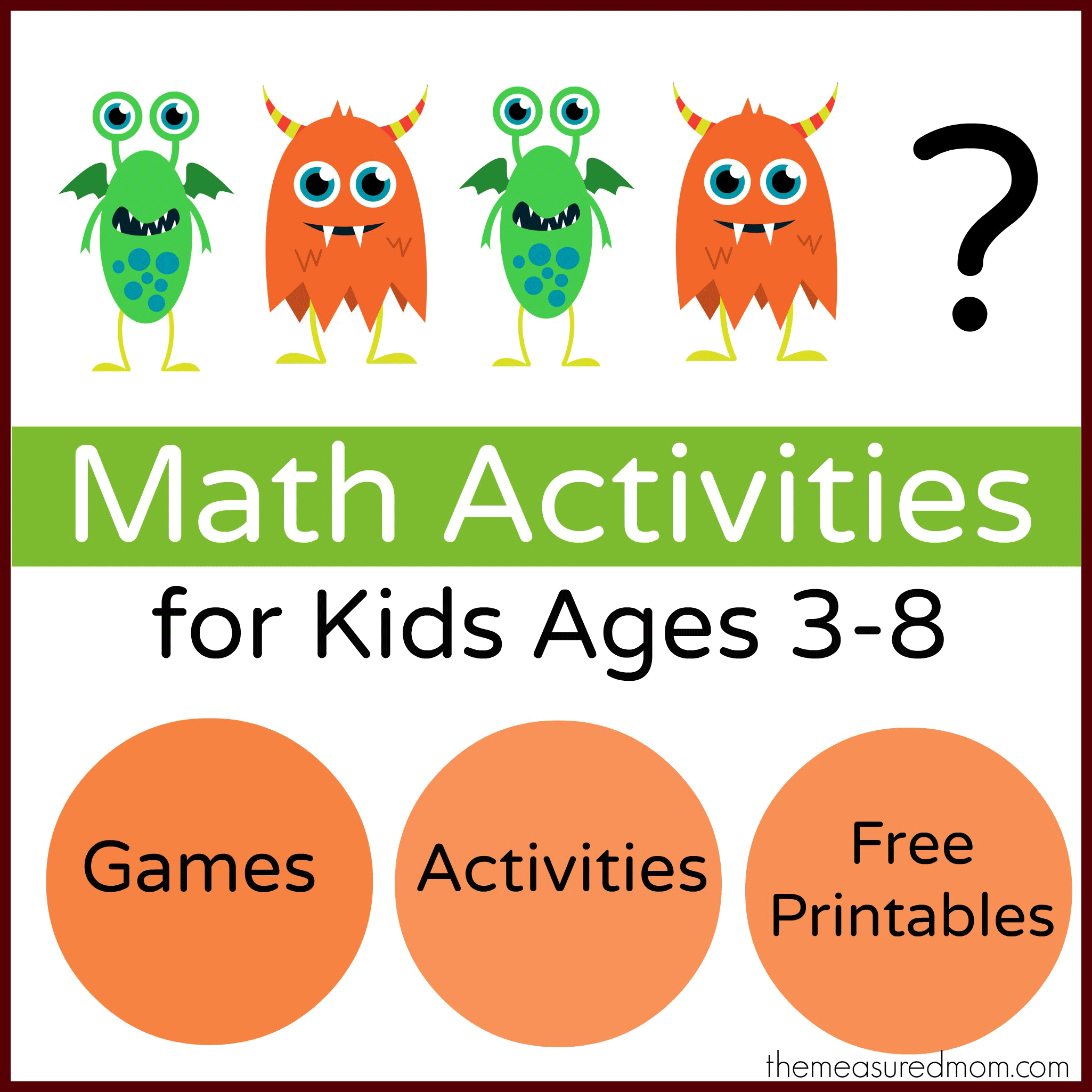 Monster Math Games & Activities - with loads of free printables for ...