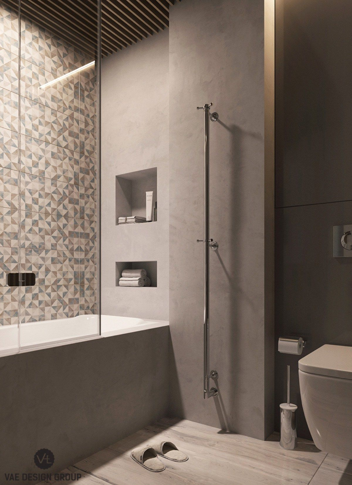 the ensuite binds bathroom duties to master bedroom colouring charcoal cabinetry and light wooden features - Multi Bathroom Design