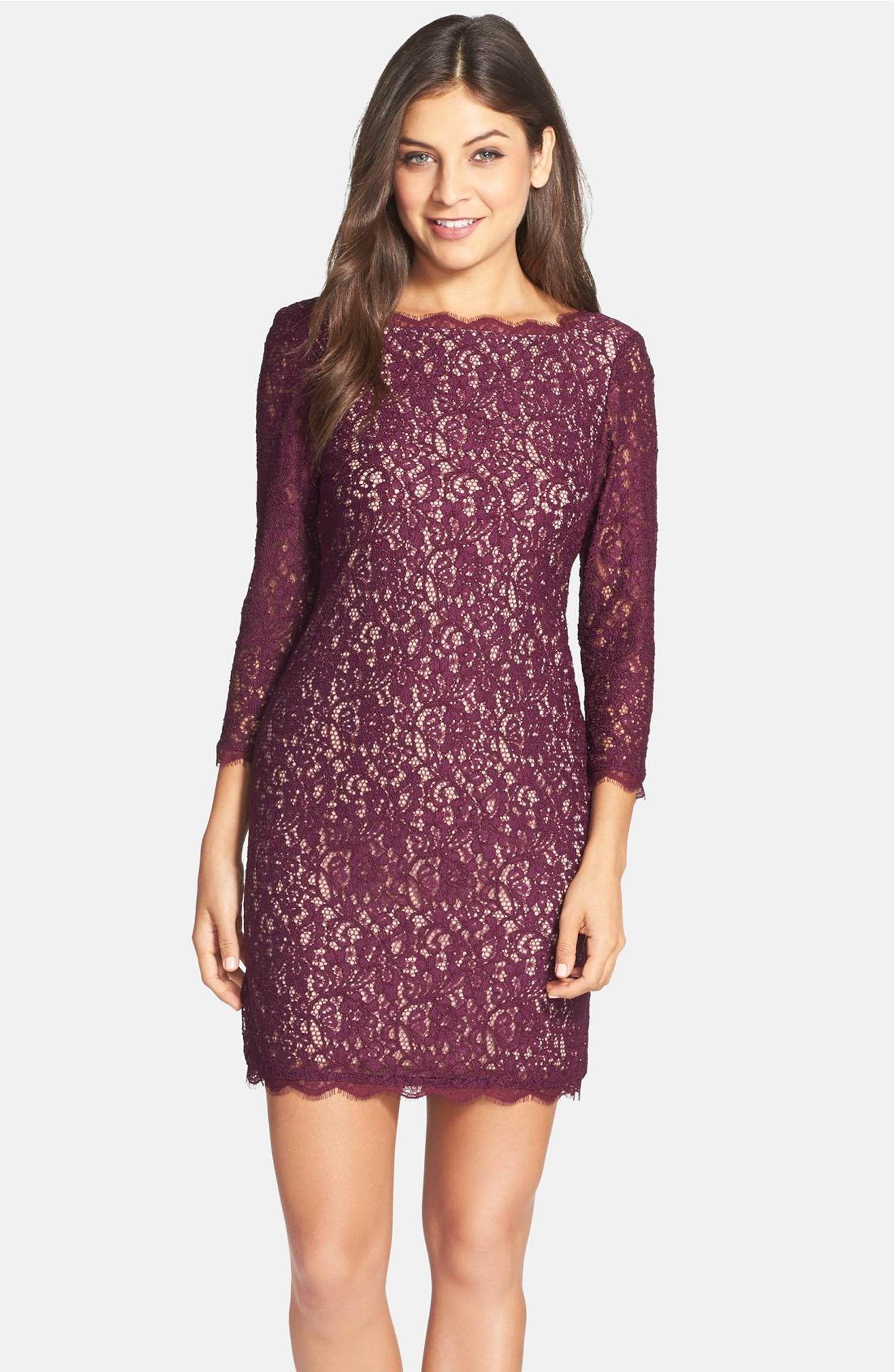 Main Image - Adrianna Papell Lace Overlay Sheath Dress (Regular ...