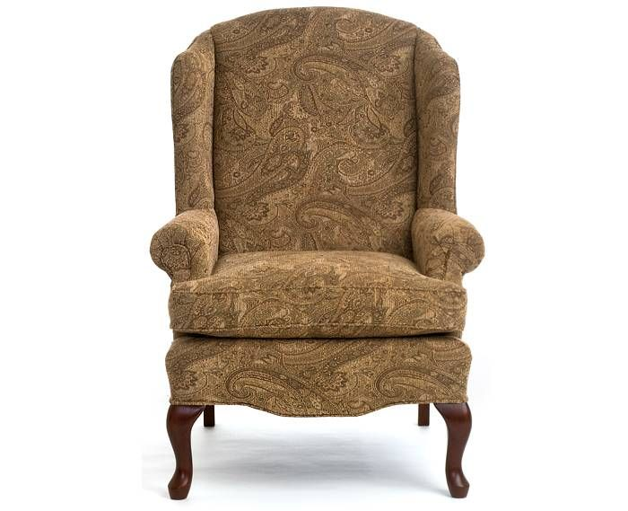 A simple wing chair in moderate scale. Khaki paisley tapestry may be ...