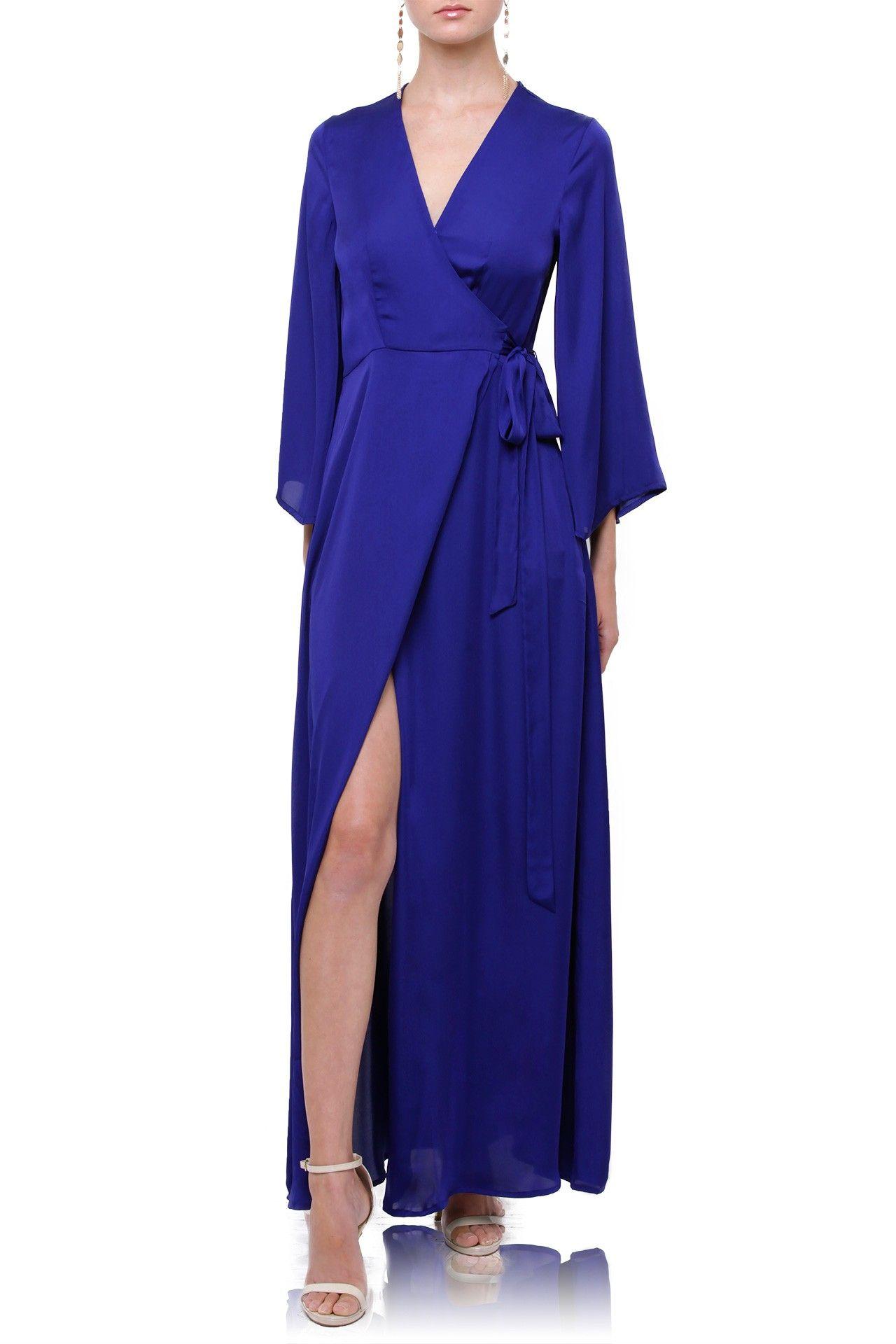 52ea39697e4 Dark Blue Silk Maxi Wrap Dress in 2019