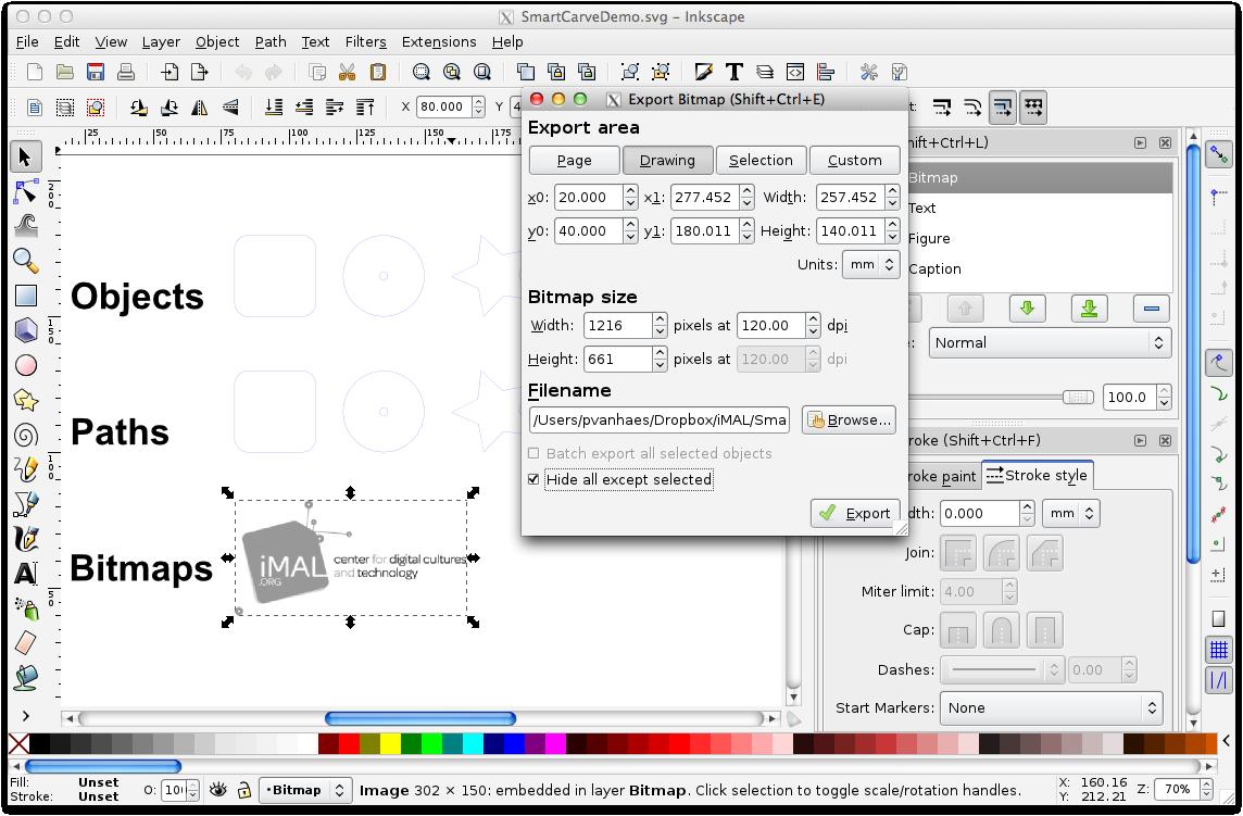 Inkscape export bitmap