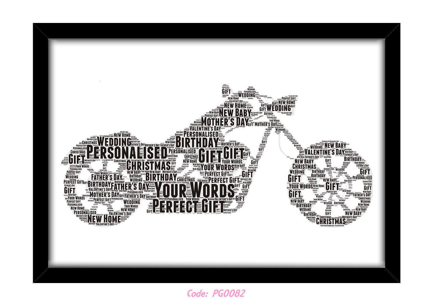 4 GBP - Personalised Harley Davidson Word Art Wall Print Gift Idea ...