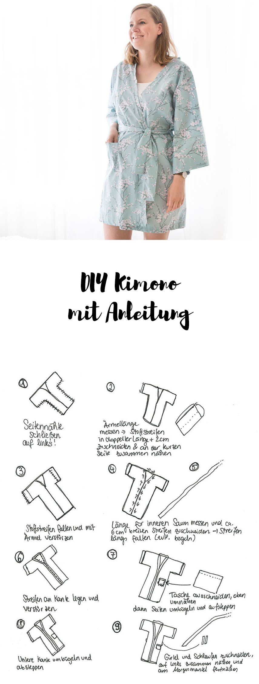 diy kimono morgenmantel n hen awesome crafty diy inspirations n hen kleidung n hen und. Black Bedroom Furniture Sets. Home Design Ideas