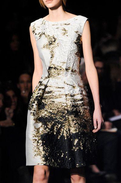 Alberta Ferretti Fall 2014 - Add fuzzy gold trim and embellishment