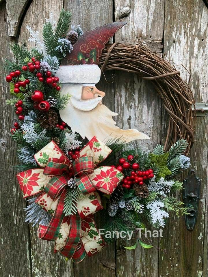 Santa Wreath Xmas Wreaths Grapevine Wreath Diy