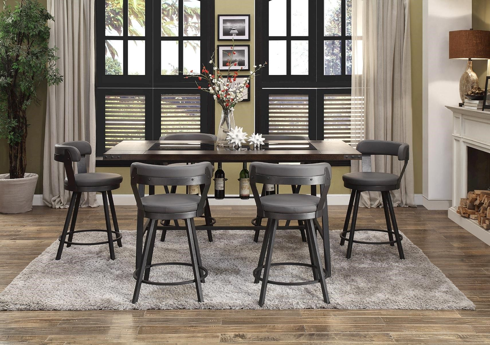 Lacks Dolores Gray 7 Pc Counter Height Dining Set Counter Height Dining Table Set Counter Height Dining Table Affordable Dining Room Sets