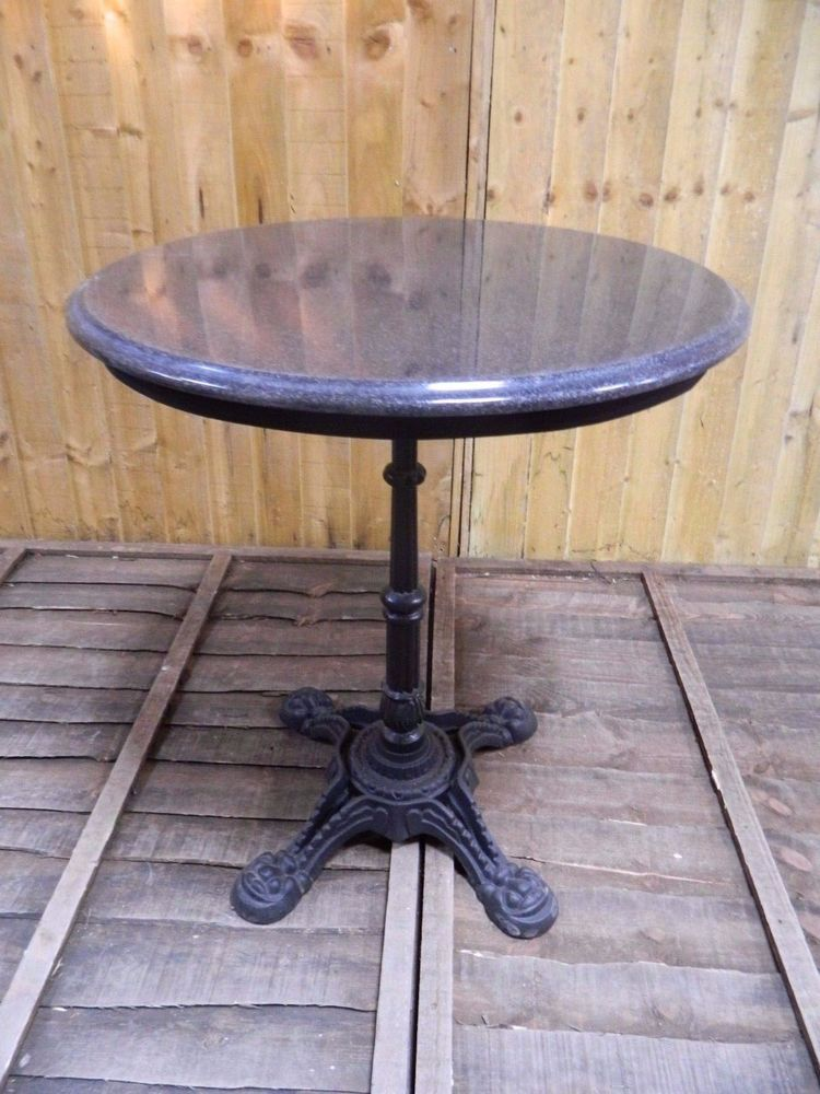 CAST IRON BASE STAND TABLE WITH GREY GRANITE TABLE TOP / BISTRO / BAR /  GARDEN