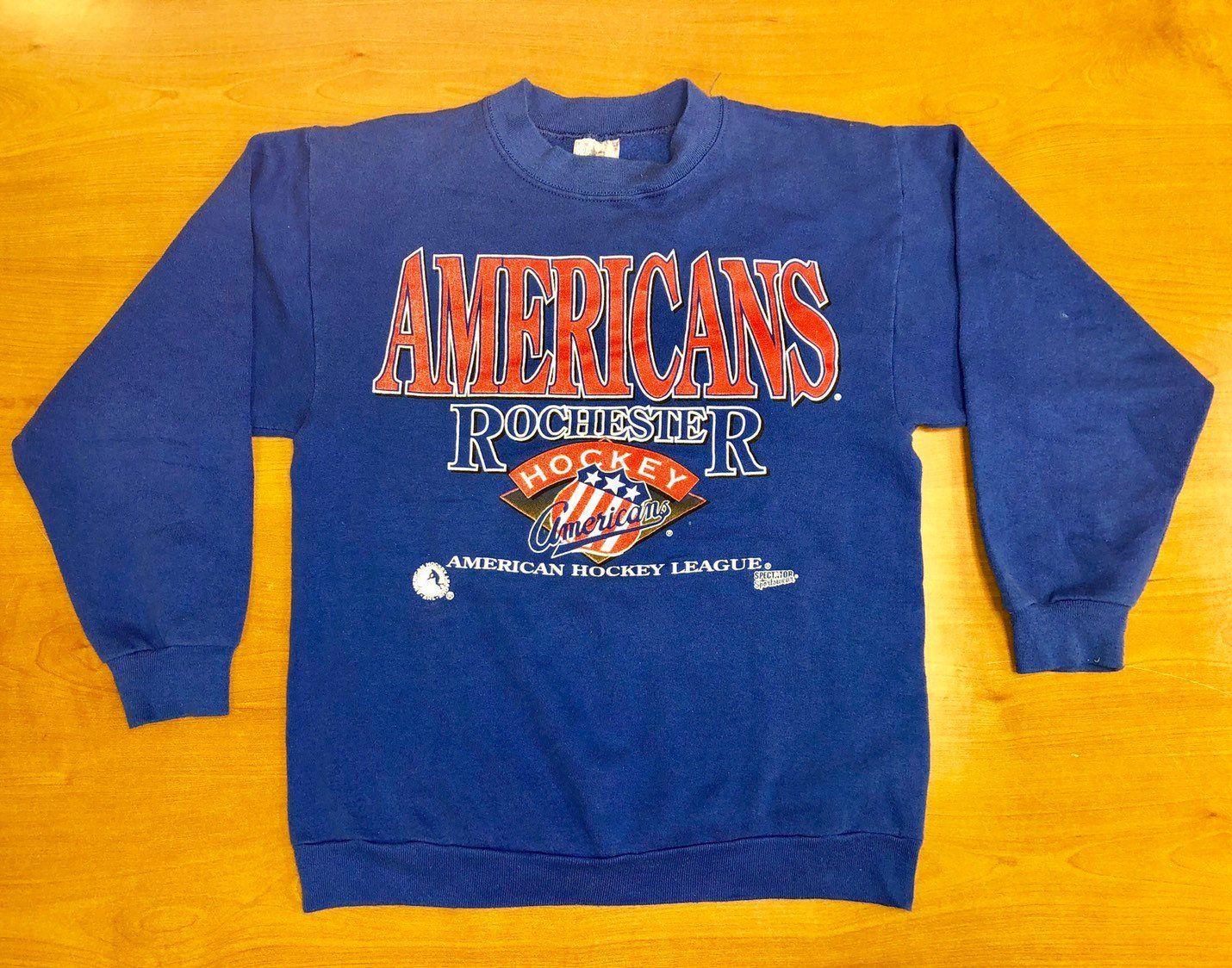 Vintage 1980s Rochester Americans Ahl Hockey Crewneck Sweatshirt Buffalo Sabres Stanley Cup Final Jersey Sports Sweatshirts American Hockey League Sweatshirts [ 1124 x 1430 Pixel ]