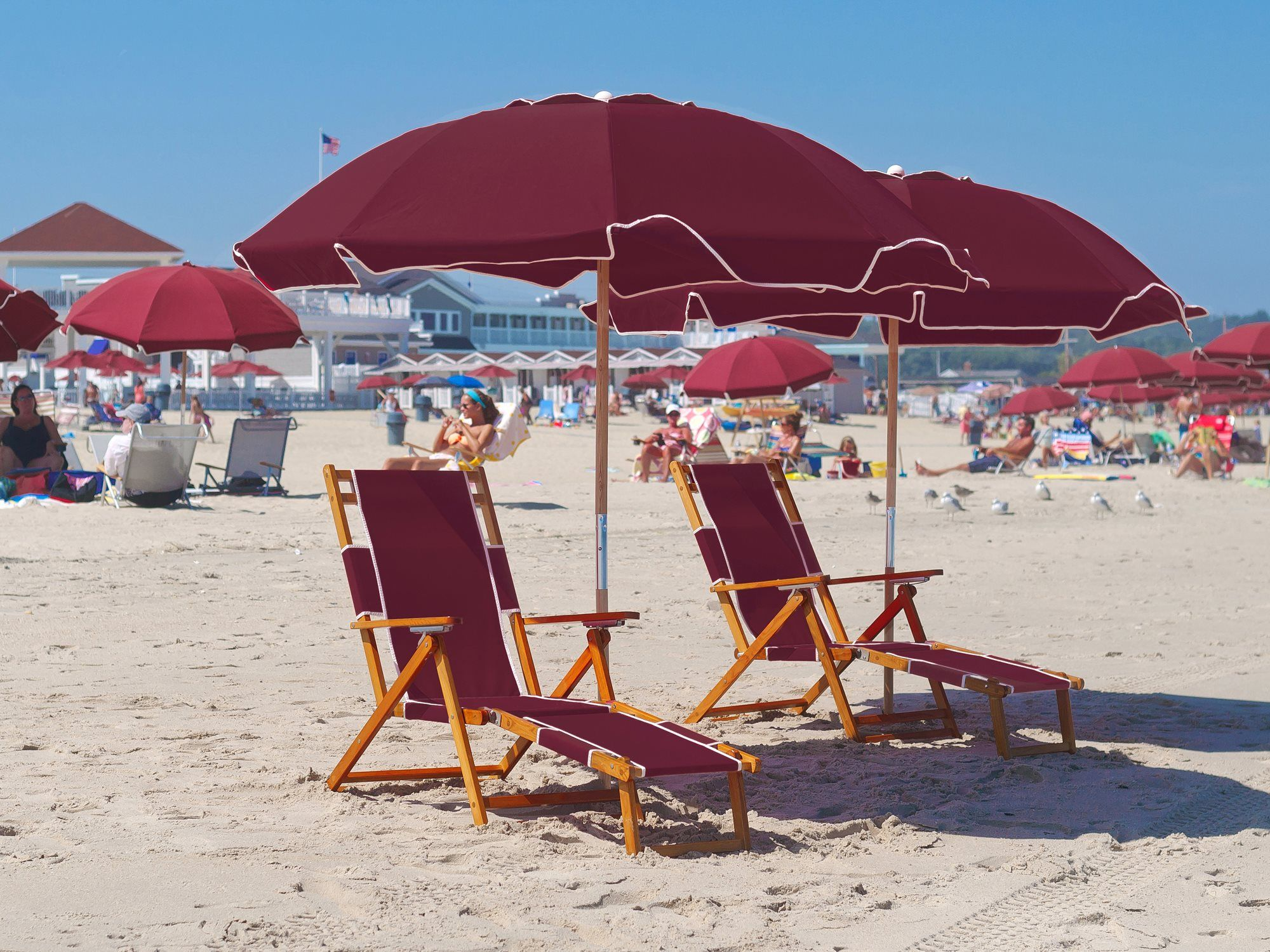 Frankford Umbrellas Wooden Beach Chairs Lounge Set Fc101set2 Save 10 This Weekend With The