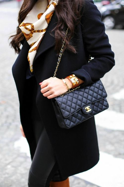 8ce429149b7782 Chanel bag and Hermes silk scarf | Beautiful bags | Chanel bag ...