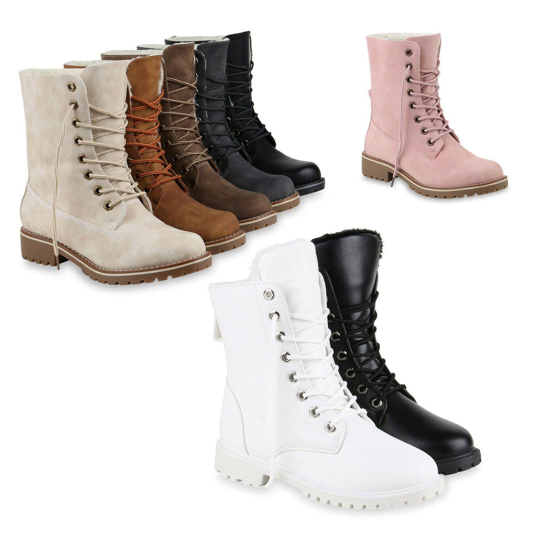 Damen Stiefeletten Worker Boots Profilsohle Stiefel Outdoor Schuhe 825681 Trendy