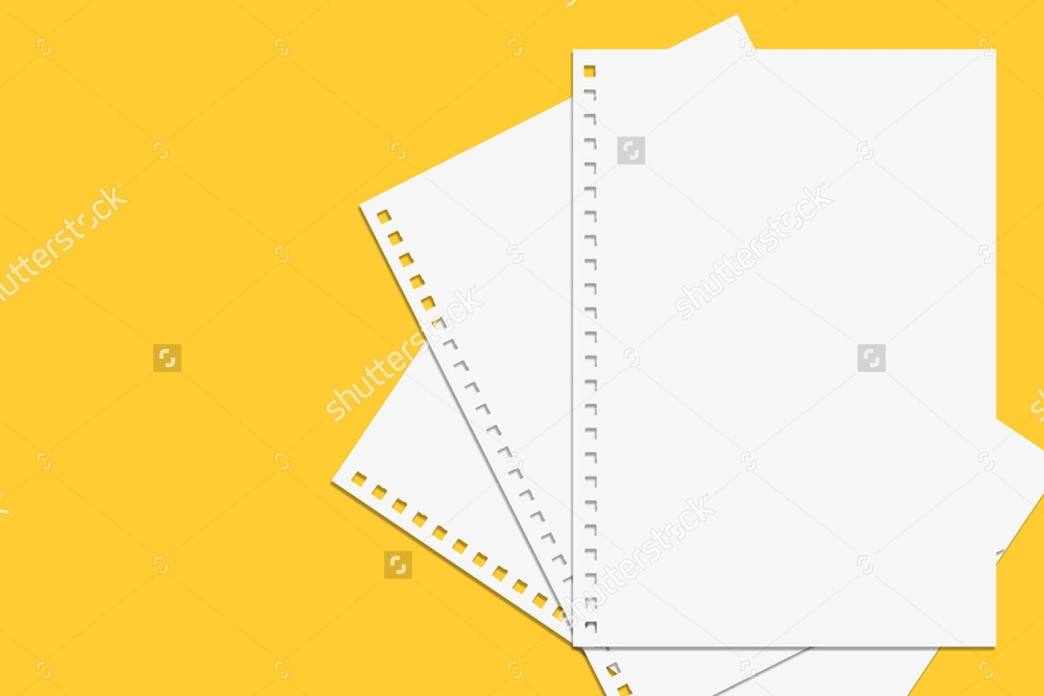 Blank Notebook Paper From Spiral Notebook Isolated On Yellow
