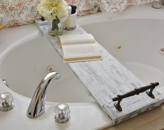 White Rustic Bath Tub Caddy/ Bath Tray/ Bath Caddy/ Farmhouse Bath ...