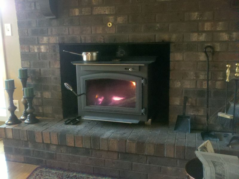 wood stove in fireplace opening google search home ideas pinterest rh pinterest at Old Wood Stove Fireplace Brick Wood Stove in Fireplace Opening